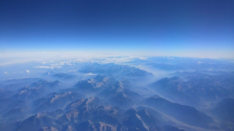 Aerial view of mountainous landscape