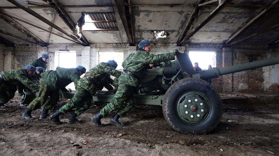 Pro-Russian rebels near front line in Donetsk region, Oct 2015 file pic