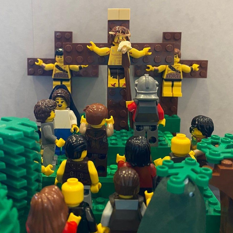 The crucifixion depicted in Lego by Niamh Newton
