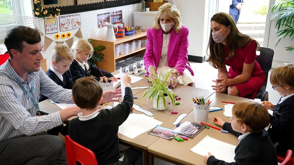 The Duchess of Cambridge and Jill Biden at a school in Cornwall
