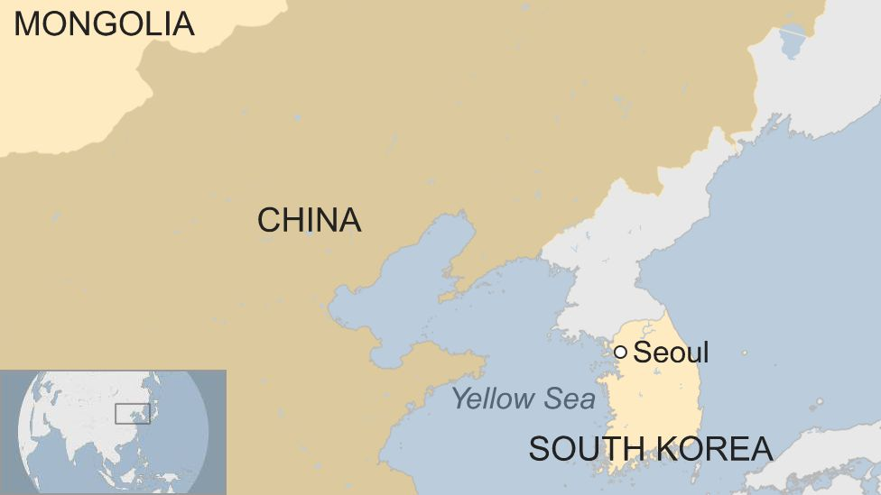 Map showing South Korea, the Yellow Sea, China and Mongolia