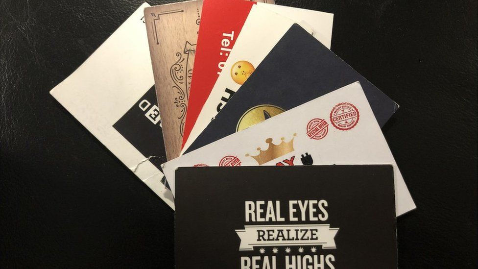 Business cards handed out by drug dealers in Leeds
