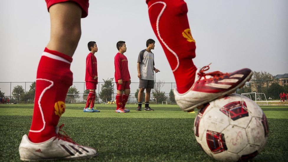 Chinese students at a football academy