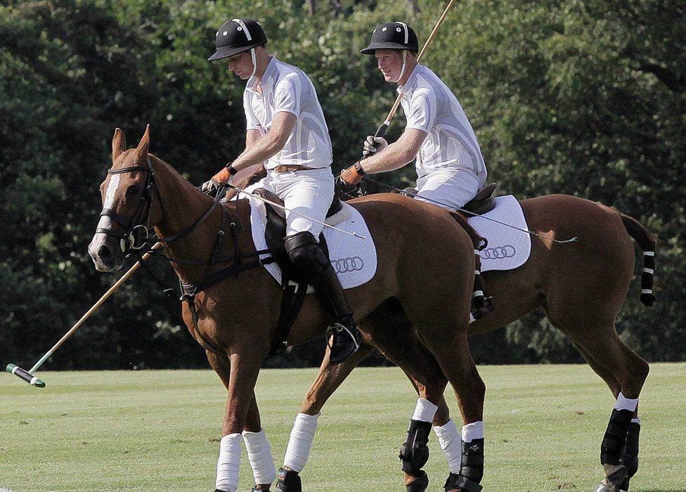 Prince William and Harry playing polo at Coworth Park