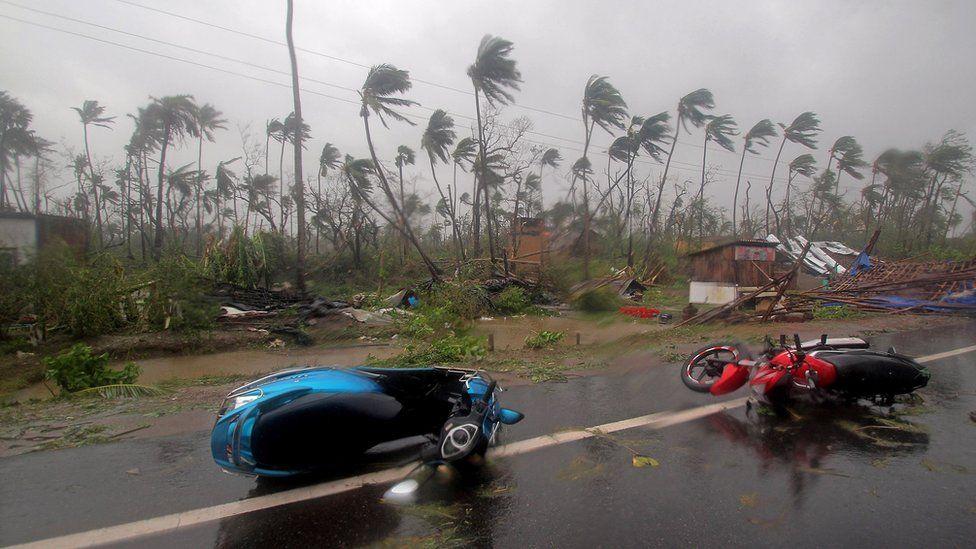 Damaged motorcyles on the highway after cyclone Fani made landfall in Odisha coast, at Konark in Puri district Odisha, India 03 May 201