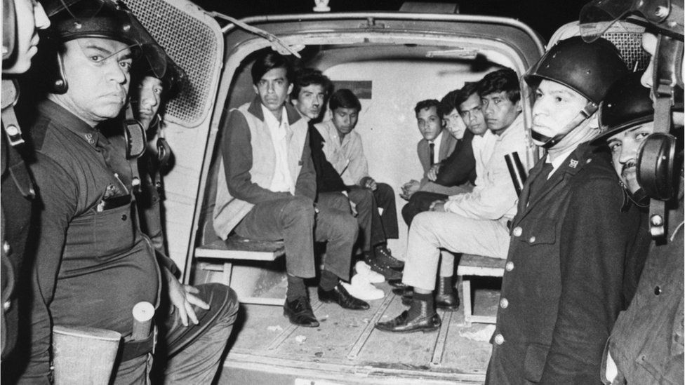 Police in 1968 show off a van of captured students in Tlatelolco