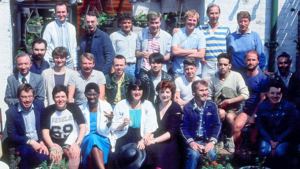 Lisa Power with other Switchboard volunteers in a gay pub in Islington in 1984