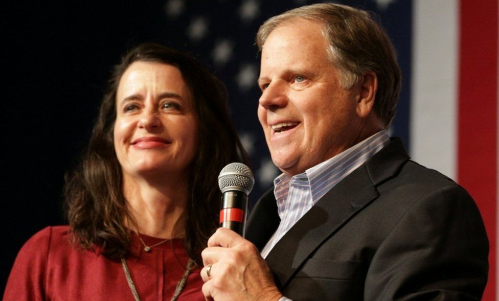 Democratic US Senate candidate Doug Jones speaks to his supporters as his wife stands by his side