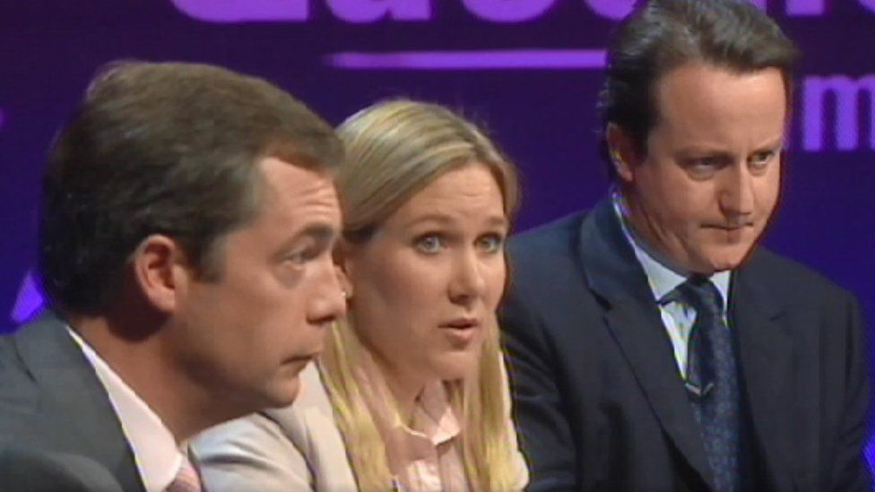 Nigel Farage, Jody Dunn and David Cameron on Question Time, 7 October, 2004