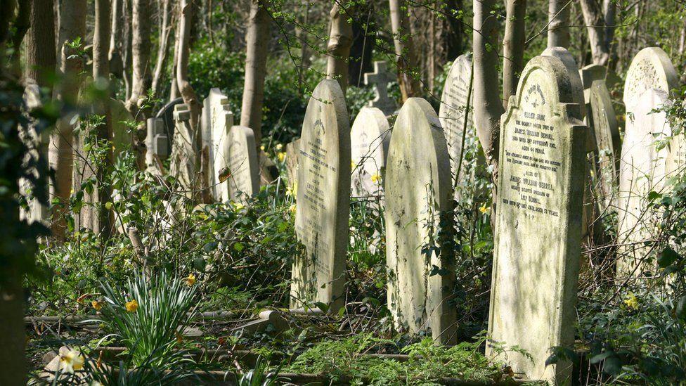 Graves in Highgate cemetery