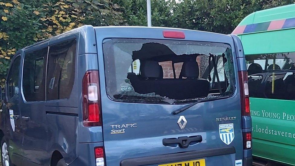 damaged minibus
