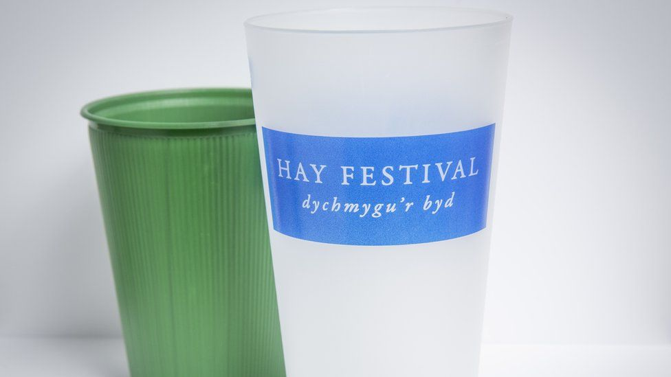 Reusable cups used at this year's Hay Festival