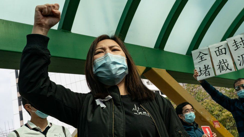 Medical workers hold a strike near Queen Mary Hospital