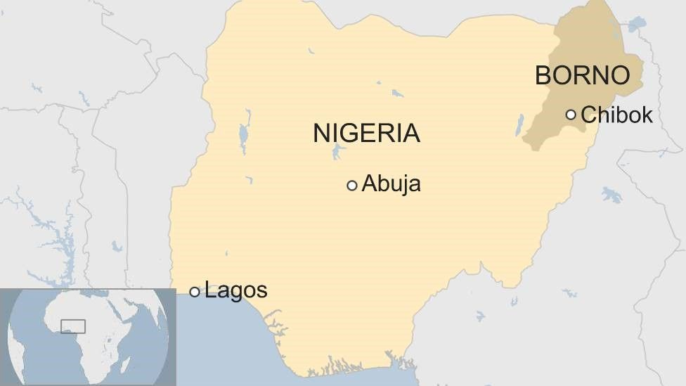 Map showing locatio of Chibok