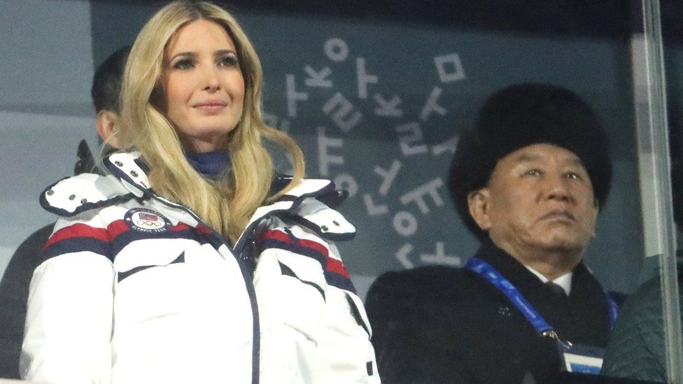 Ivanka Trump (L) and General Kim Yong Chol (back R) attend the closing ceremony of the Pyeongchang 2018 Winter Olympic Games, 25 February 2018