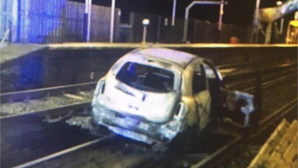 car on track at Wool