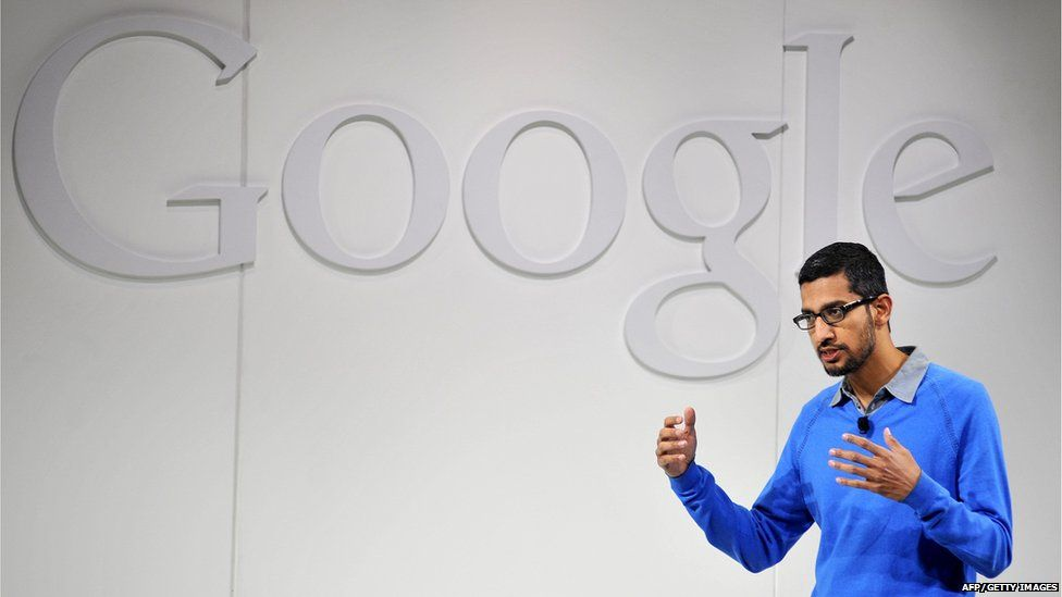 File picture taken on July 24, 2013 shows Sundar Pichai, Senior Vice President of Android, Chrome and Apps for Google, speaking at a media event at Dogpatch Studios in San Francisco, California