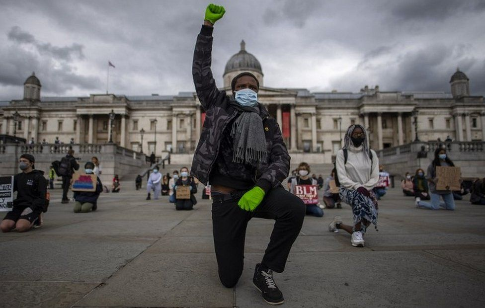 Demonstrators in Trafalgar Square