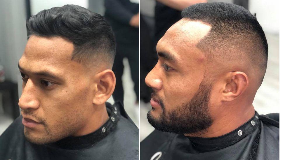 Israel Folau and Sekope Kepu getting their hair cut