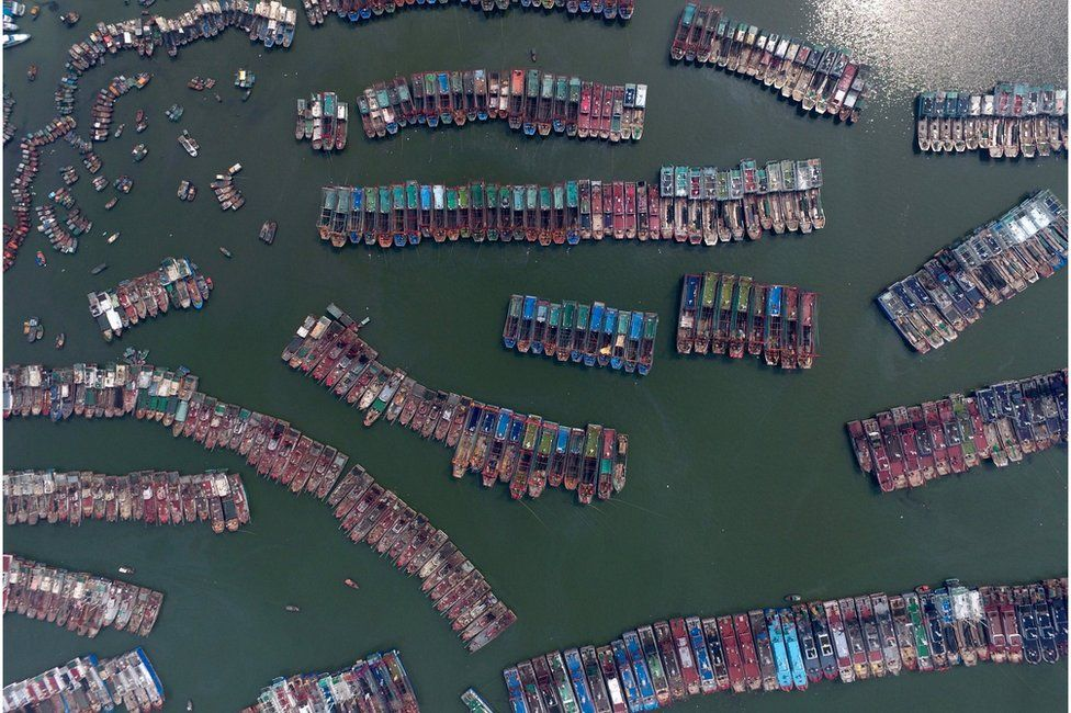 Aerial shot of fishing boats parked in a port as Typhoon Nida approaches Guangzhou, 1 August 2016.