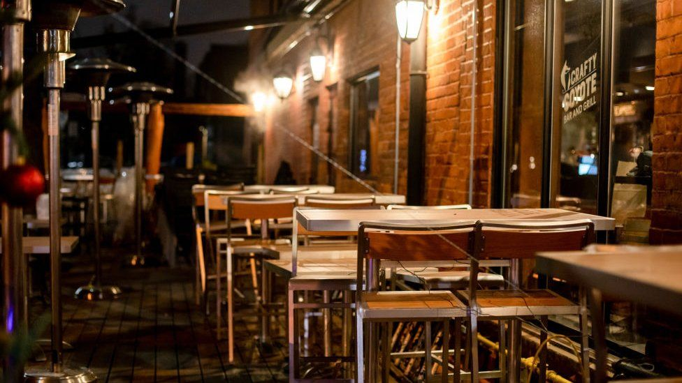 A restaurant patio sits empty due to covid lockdown measures