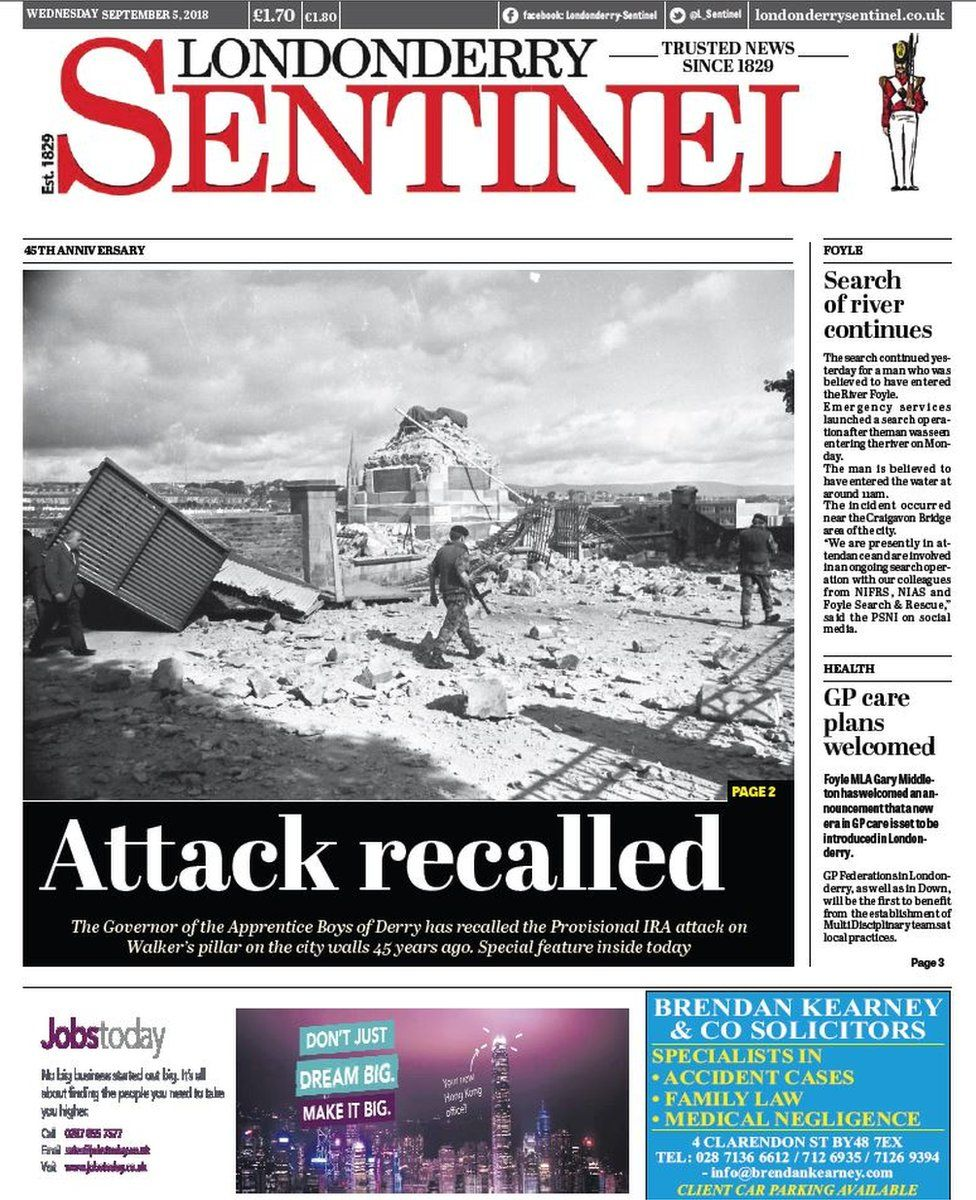 front page of the Londonderry Sentinel Wednesday 5 September 2018