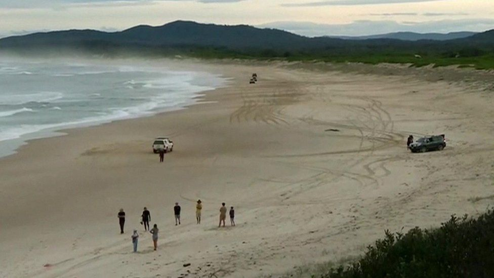 The aftermath of a shark attack at Wooli Beach in New South Wales, Australia, 11 July 2020
