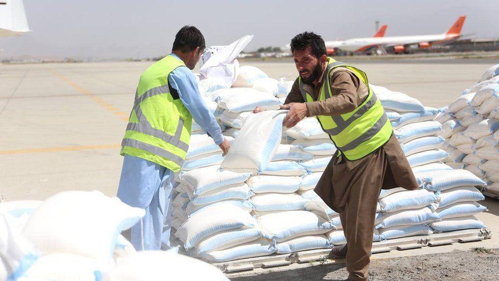 Pakistani cargo aircraft carrying humanitarian aid arrives at Hamid Karzai International Airport in Kabul