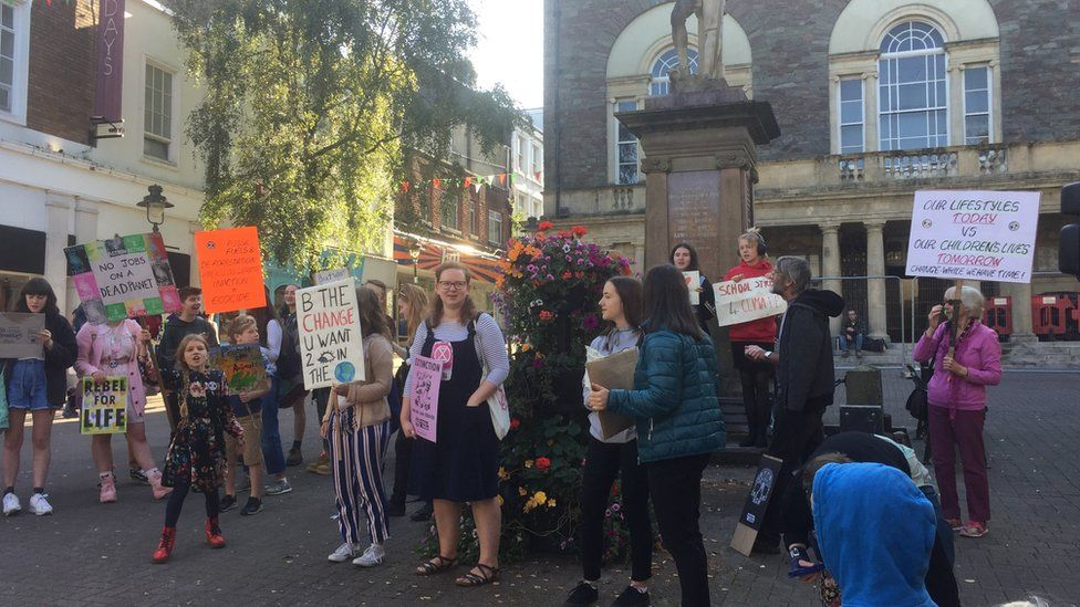 Protesters demonstrating in Carmarthen