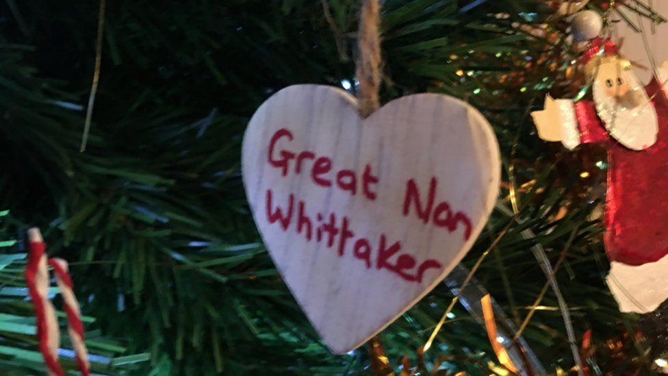 A wooden heart with Great Nan Whittaker written on it