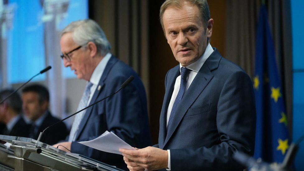 European Commission President Jean-Claude Juncker (L) and European Council President Donald Tusk speak to the media in Brussels on March 21, 2019