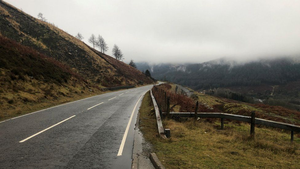 A road on Rhigos mountain road in Rhondda Cynon Taf