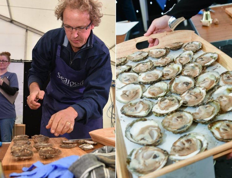 Man preparing oysters and oysters