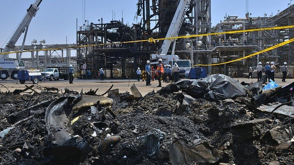 A destroyed installation in Saudi Arabia's Khurais oil processing plant