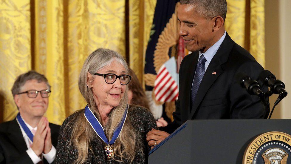 US President Barack Obama awards the Medal of Freedom to computer software pioneer Margaret Hamilton.