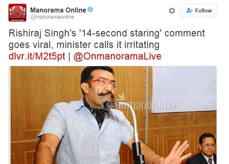 Kerala media outlets like Manorama Online have given prominent coverage to Mr Singh's statement