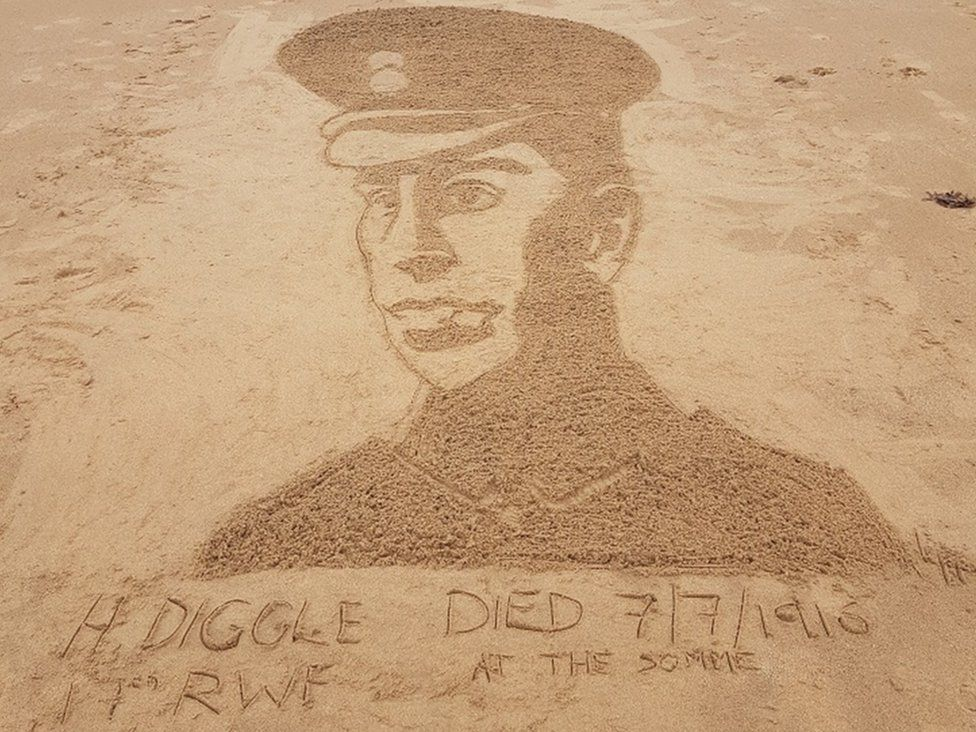 Laura Henderson etched this picture of her great great uncle, Sgt Harry Diggle, into the sand at Ayr beach