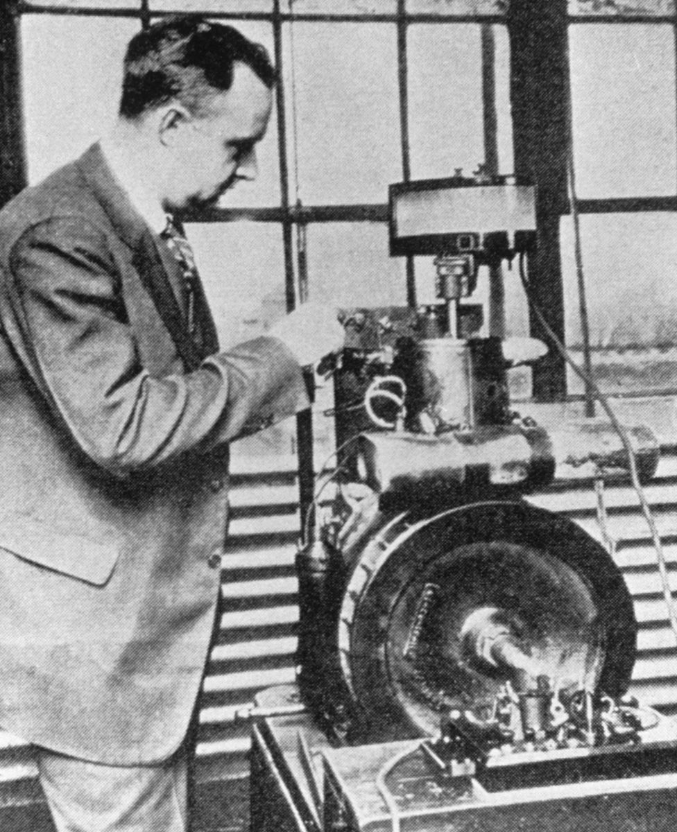Chemist Thomas Midgley with the Delco laboratory test engine
