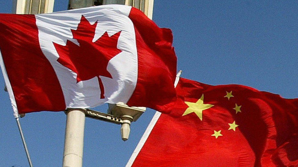 File image of Canadian and Chinese flags