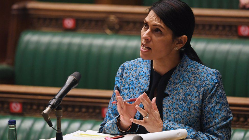Priti Patel speaking in the Commons