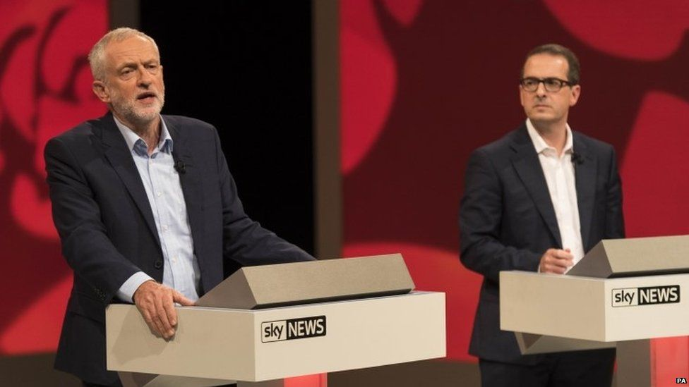 Jeremy Corbyn during a debate with his leadership rival Owen Smith