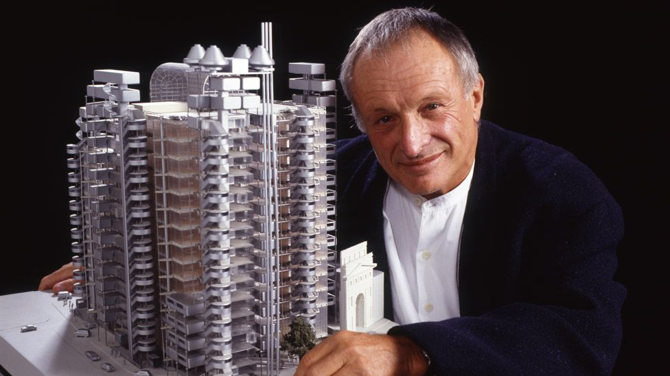 Richard Rogers with a model of the Lloyds building in 1995