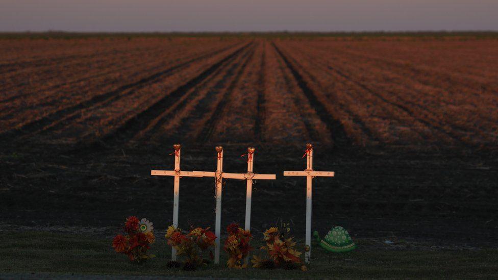 Crosses by a roadside in Texas, USA.