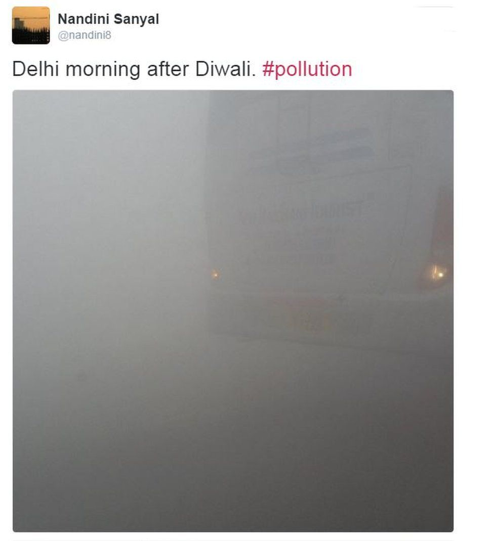 Tweet from user nandini8 shows smog in Delhi