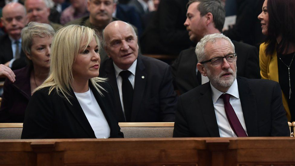 Sinn Féin' vice-president, Michelle O'Neill and Labour party leader, Jeremy Corbyn, in St. Anne's Cathedral.