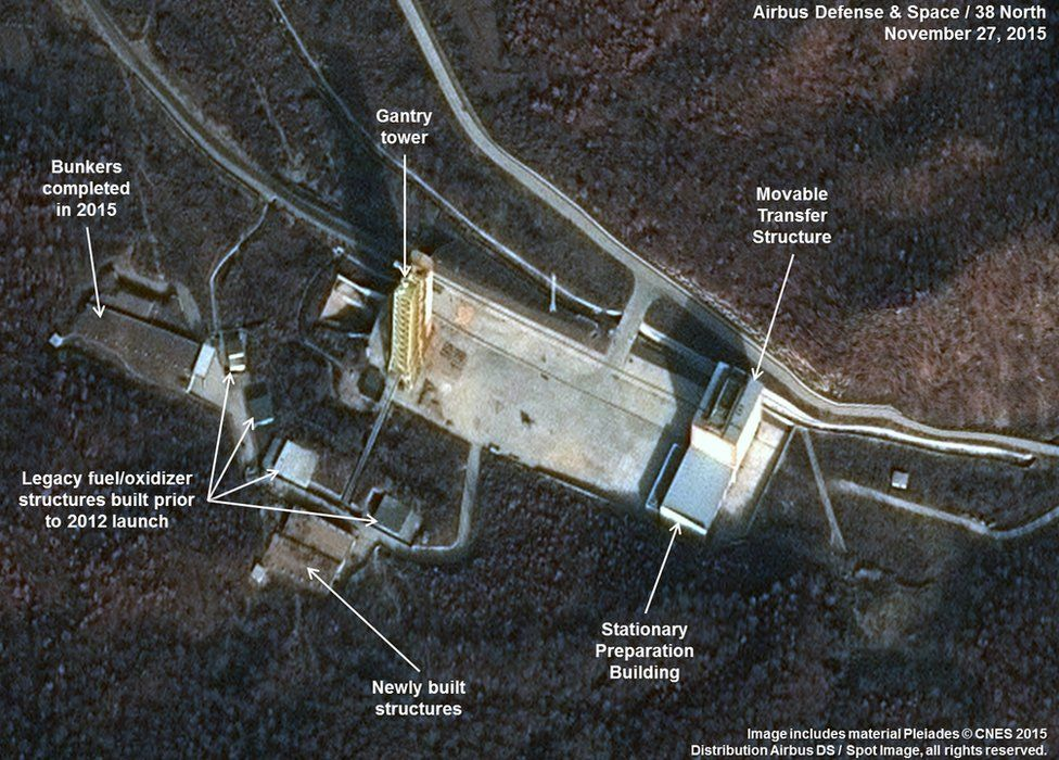 Satellite image released by Airbus Defense & Space and 38 North showing the construction of new propellant bunkers at the launch pad and engine test stand at the Sohae Satellite Launching Station in North Korea on 27 November 2015 (09 December 2015)