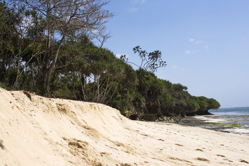 A beach in Tiwi, along Kenya's coast, where sand dredging just beyond the reef has caused the beach to subside and start to disappear. This beach is a key nesting ground for sea turtles