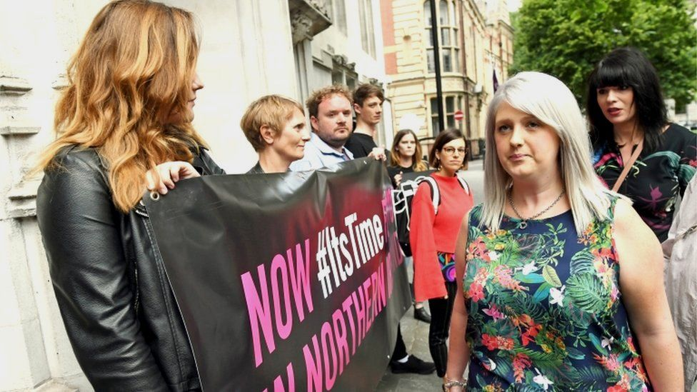 """Grainne Teggart (right) and Sarah Ewart (second right) arrive at the Supreme Court, Westminster where UK""""s highest court is to rule on Northern Ireland abortion law challenge. PRESS ASSOCIATION Photo. Picture date: Thursday June 7, 2018. See PA story COURTS Abortion. Photo credit should read: Stefan Rousseau/PA Wire"""