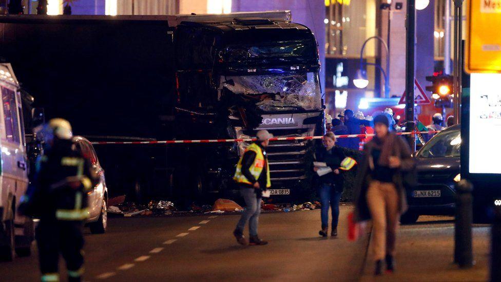 A truck is seen near the Christmas market in Berlin, Germany December 19, 2016