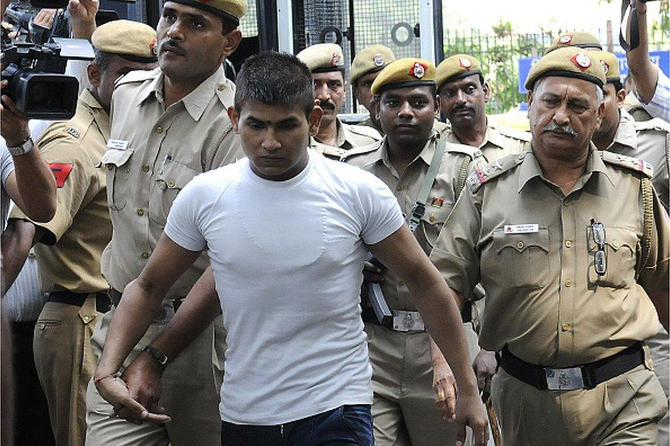 December 16 Delhi bus gang rape accused Vinay Sharma brought to Delhi High Court under high security for hearing on September 24, 2013 in New Delhi, India